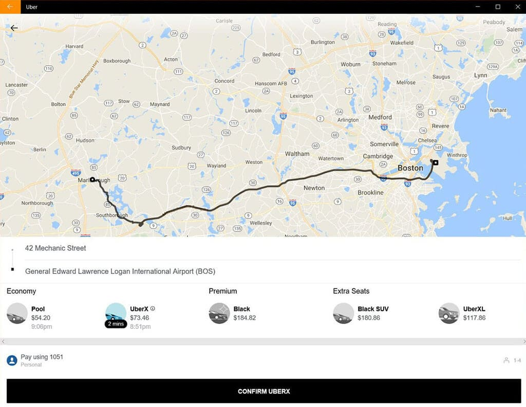 Uber PWA example on desktop